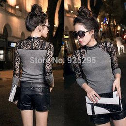 Wholesale Women Leather Blouse Xl - LOWEST PRICENewly HotVogue Lady Women Long Sleeve Slim Knitwear Leather Crew Neck Lace Blouse Tops