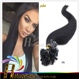 Wholesale Hair Fusion Sale - 7A Best Nail U Tip Keratin Fusion Hair Extensions 100% Natural Hair straight hair Wavy Sale 1g S 100S lot 18-28 Inch