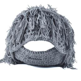 2019 crochet bonés Novas Perucas Engraçado Barba Criativa Unisex Malha Rosto Warmer Chapéu De Lã Mão-de Malha Crochet Beanie Cap desconto crochet bonés