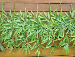 """Wholesale Artificial Bamboo Plants - High Quality Silk Bamboos Plant 62cm 24.41"""" Length 20Pcs Artificial Bamboo Leaf Green Plants 3 Stems for Home Christmas Decorations"""