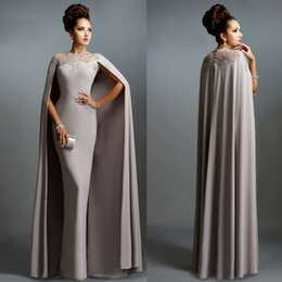 Wholesale Edge Pictures - Sexy Formal Celebrity Dresses 2015 Elie Saab Cape Evening Gowns Grey Pleated with Ruffles Lace-edged Neckline Cheap Sheer Prom Dresses