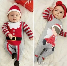 Wholesale Toddler Headband For Boys - hot sale babies rompers Xmas Santa Claus Toddler Baby Boy Girl Jumpsuit+Hat Headband Outfits christmas perfect gift for girls Sets wholesale