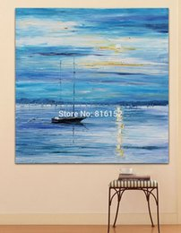 Wholesale Yacht Knife - Travel of the Yacht on Silent Harbor Scene Palette Knife Oil Painting Wall Art Picture Printed On Canvas For Office Home Decor