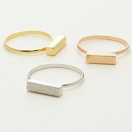 Wholesale Thick Silver Rings - Thick Modern Bar Ring Silver Gold Rose Gold orthogon rectangle Ring,geometric cuboid rings wholesale 10pcs lot Free shipping