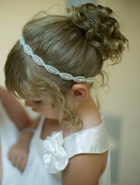 Wholesale crystal headbands for flower girls - Flower Girls Headbands Crystal Diamond Kids Bridesmaid Hair Accessories Handmade Princess Glass Crystal Headbands for Wedding Party