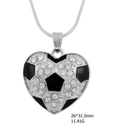 Wholesale Black Snacks - rhodium plated crystal heart single-sided pendant fitness sport black enamel soccer ball charm snack chain necklaces