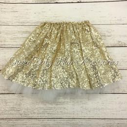 Wholesale Dance Wear Sequins - Gold Sequin Tutu Skirts Girls Sparkle Silver Pink Baby Toddler Long Tulle Princess Dance Wear 5pcs lot