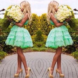 charmes pour l'obtention du diplôme Promotion Charme chérie menthe vert courte en dentelle robe de bal robes de bal robes de bal robes de graduation 2015 EA0071
