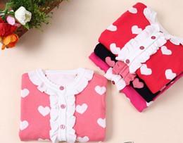 Wholesale Heart Sweater Cardigan - Girls Heart Knit Cardigan Children Girl Spring Autumn Ruffle Outwear Kids Princess Sweater Knitwear Clothing free shipping in stock