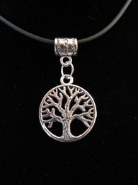 Wholesale Earth Pendant Silver - Free TIBETAN SILVER ALLOY TREE OF LIFE CIRCLE EARTH SYMBOL PENDANT NECKLACE CORD