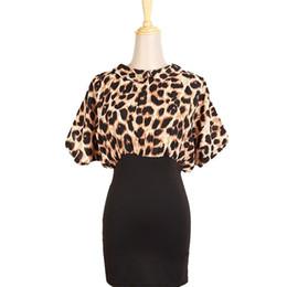 Wholesale Leopard Chiffon Sexy Gown - Women Leopard Batwing Sleeve Chiffon Tops Mini Dress Bodycon Party Gown Hot FG1511