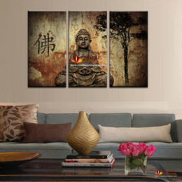 Wholesale Sell Decorative Wall Paint - Hot Sell 3 Panel Large Buddha Painting Canvas Wall Art Set Modern Home Decorative Pictures Paintings For Living Room Wall