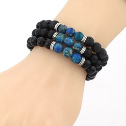 Wholesale Multi Color Bead Bracelet - New Women Men Jewelry Bangle & Bracelets Fashion Black Lava Stone Bracelets Multi Color Beads Strand Bracelet LX