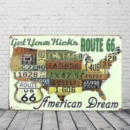 Wholesale Map Decorations - US Route 66 American Dream Map Retro Vintage Tin Sign Metal Plaque License Plate Bar Pub Home Wall Decor