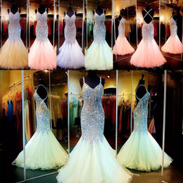 Wholesale colorful evening gowns - New Bling Bling Mermaid Prom Dresses 2017 Spaghetti Crystal Major Beading Backless Colorful Red Carpet Evening Party Pageant Gowns For Woman