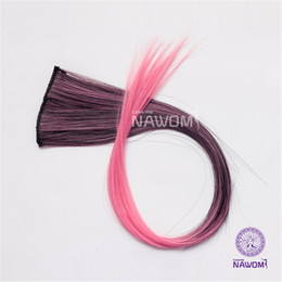 "Wholesale One Piece Black Hair Extensions - NAWOMI 2 Clips In Black Pink Ombre Colore 20"" Long Hair Extension One Piece Women Cheerleading Squads Fans Synthetic Hairpiece"