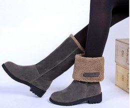 Wholesale Plus Size Calf Boots - Style Botas femininas snow boot autumn winter boot short plush warm square heels women shoes mujer plus size