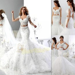 Wholesale Beaded Two Piece Wedding Dresses - 2 Pieces Wedding Dresses 2016 White Lace Cap Sleeves Beaded Sweetheart Two Piece Bridal Gowns Mermaid Trumpet Unique Informal Bride Dress