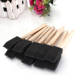 Wholesale Wholesale Craft Paints - 20PCS lot 1 25mm Foam Sponge Brushes For Painting Drawing Art Craft Wood Handle New