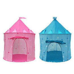 Wholesale Free Tent Camping - Free shipping Children Beach Tent Prince and Princess Palace Castle Children Playing Indoor Outdoor Toy Tent Game House