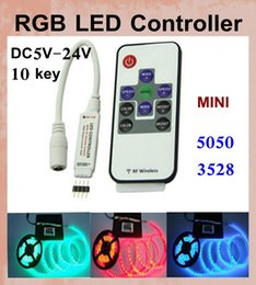 Wholesale Rgb Led Light Wifi Controller - RGB LED strip Controller 144W With RF Wireless Remote Control Mini Dimmer for smd 5050 3528 Led Strip light VS wifi 24key rgb control DT005