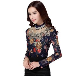 Wholesale Crochet Blusa - Women Fall New Fashion Floral Blouse 3XL Long Sleeve Lace Crochet Beaded Blouses Designer Clothes China Shirts Camisa Blusa