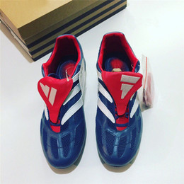 Wholesale Soccer Shoes Predator - With Box 2017 Predator Precision Remake FG Cleats Blue Red Soccer Shoes Limited Edition Beckham Mania Football Boots
