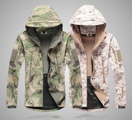 Wholesale Camouflage Jacket Hoody - Soft Shell Outdoor Jacket Men Shark Desert Camouflage Military Tactical Waterproof Forest Camo Sports Spring Hoody Winter Hunting Jacket