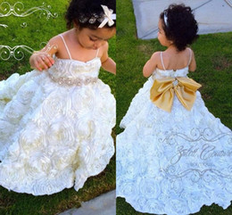 Wholesale Sparkling Rhinestone Sashes - Ruffles Organza Flower Girls Dresses Spaghetti Ball Gown Crystal Sparkling Girls Pageant Dresses With Bow Baby First Communion Dress 2017