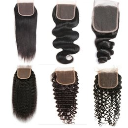 Wholesale Virgin Cambodian Lace Closure - Brazilian Virgin Human Hair Lace Closure Peruvian Malaysian Indian Cambodian Mongolian Body Wave Straight Curly 4X4 Closures