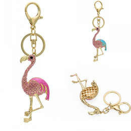 Wholesale Cute Unique Gifts - Unique Cute Keychain Flamingo Keyring Keyfob for Women Gift Crystal Key Chain Keyings 2 Styles Support FBA Drop Shipping D317Q