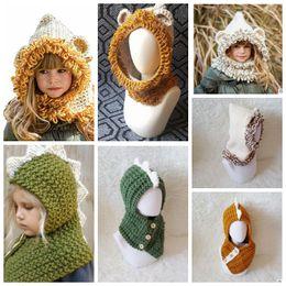 Wholesale Dinosaur Hats - Kids Winter Knitted Hats Scarf kids Dinosaur Bear Crochet caps children warm beanie girls cartoon animal shawl capes cap KKA3453