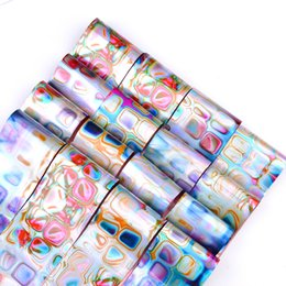 Wholesale 3d Nail Decals Wholesale - Set 16 Pc Laser Nail Art Foil Sticker Holographic Gradient Decoration Marble Star Rainbow 3D Manicure Transfer Decal New Gift