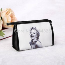 Wholesale Makeup Monroe - Wholesale-New 2015 Women Fashion Messenger Bags Women Leather Handbags Marilyn Monroe Printed Cosmetic Bags & Cases Three Type Makeup