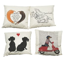 Wholesale Dachshund Pillow - Creative Dachshund Pattern Linen Cushion Cover Home Office Sofa Square Pillow Case Decorative Cushion Covers Pillowcases Without Insert
