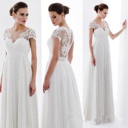 Wholesale Lace Empire Sleeve Wedding Dress - Free Shipping 2015 Summer Lace Empire Maternity Wedding Dresses Cap Sleeves See Through Bridal Gowns Custom Made A-Line wedding dress