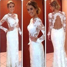 Wholesale Sexy Black Shirt Holes - 2016 Sexy Sheer Long Sleeves Lace Prom Dresses White Sheer Neck Key Hole Back Floor Length Sheath Party Dresses Party Evening Gowns
