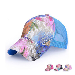 Wholesale Lace Snapback - Wholesale-2015 Style Cotton Lace Floral Print Trucker Cap Mesh Snapback Cap Sun Protect Gorras Women Free Shipping