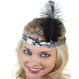 Wholesale Sequin Diamond Hair - New Fashion Fancy Feather Headband Flapper Sequin Costume Hair Band Party Hairband Flapper Feather Headband 1920's Flapper Many Colors