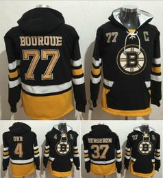 Wholesale Rays Hoodie - Men's #37 Patrice Bergeron Boston Bruins Jerseys 77 Ray Bourque 4 Bobby Orr Men's Hoodie Sweater Hockey Jersey Free Shipping