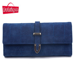 Wholesale Cell Phone Travel Wallets Wholesale - Wholesale- BVLRIGA Brand Plaid Nubuck Leather Female Wallet Women Purse Coin Credit Card Holder Business Travel Lady Clutch Bag Organizer
