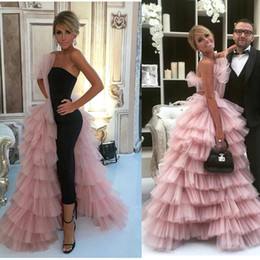Wholesale Pink Layered Prom Gown - Gorgeous Pink Tulle Layered Ruffles A Line Evening Dresses 2017 Floor Length Formal Celebrity Party Guest Prom Gowns BA7249