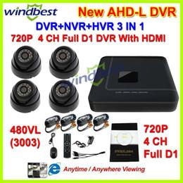 Wholesale H 264 Full D1 - HDMI 4CH Full AHDL D1 H.264 DVR Kit Nightvision Security 480TVL Dome Camera Surveillance Video System DIY CCTV Camera System
