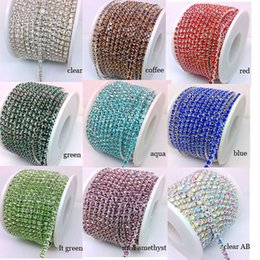 Wholesale Crystal Rhinestone Close Chain - Crystal Rhinestone Chain Silver Close Claw Cup 10 Yards 9 Colors You Pick SS12 3.5mm Plated