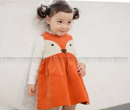 Wholesale Modelling Babies Dress - Baby girls cute fox vest dress children Animal modelling dress Hot sell autumn kids princess dress children clohthes A7109