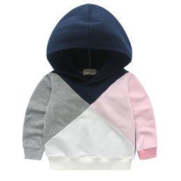 Sudaderas grises casuales online-Chicas Patchwork Jumper Hoodies Blanco Rosa Gris Navy Patch Niños Casual Active Primavera Otoño Sudaderas Fashion Outfit 2-8T