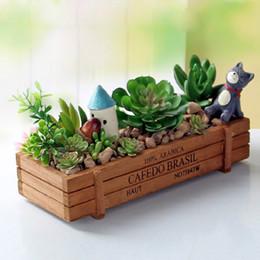 Wholesale Green Wood Floors - Garden Plant Pot Decorative Vintage Natural Flower Planter Succulent Wooden Case Rectangle Table Flower Pots Gardening Device