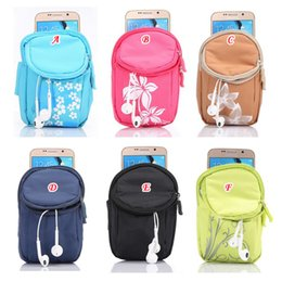 Wholesale Sports Cell Phone Covers - Universal Wrist Band Zipper Cloth Bag Running Sport Pouch For Iphone 7 6 6S 4.7 inch Galaxy s8 S7 S6 Flower Cell phone Colorful Pouch cover