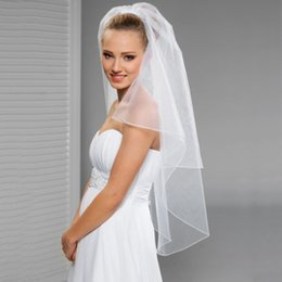 Wholesale Veils Made Tulle - Simple Short Veil Two Layers White Bridal Veils Elbow Length with Comb Custom Made Free Shipping