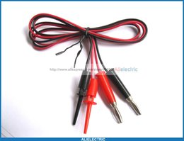 Wholesale Test Cable Plug - 10 Set Small Test Clip to Nickel Banana Plug Cable 1M 100cm Red Black